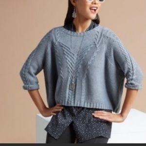 CAbi Short & Sweet Cropped Sweater 3/4 Sleeve